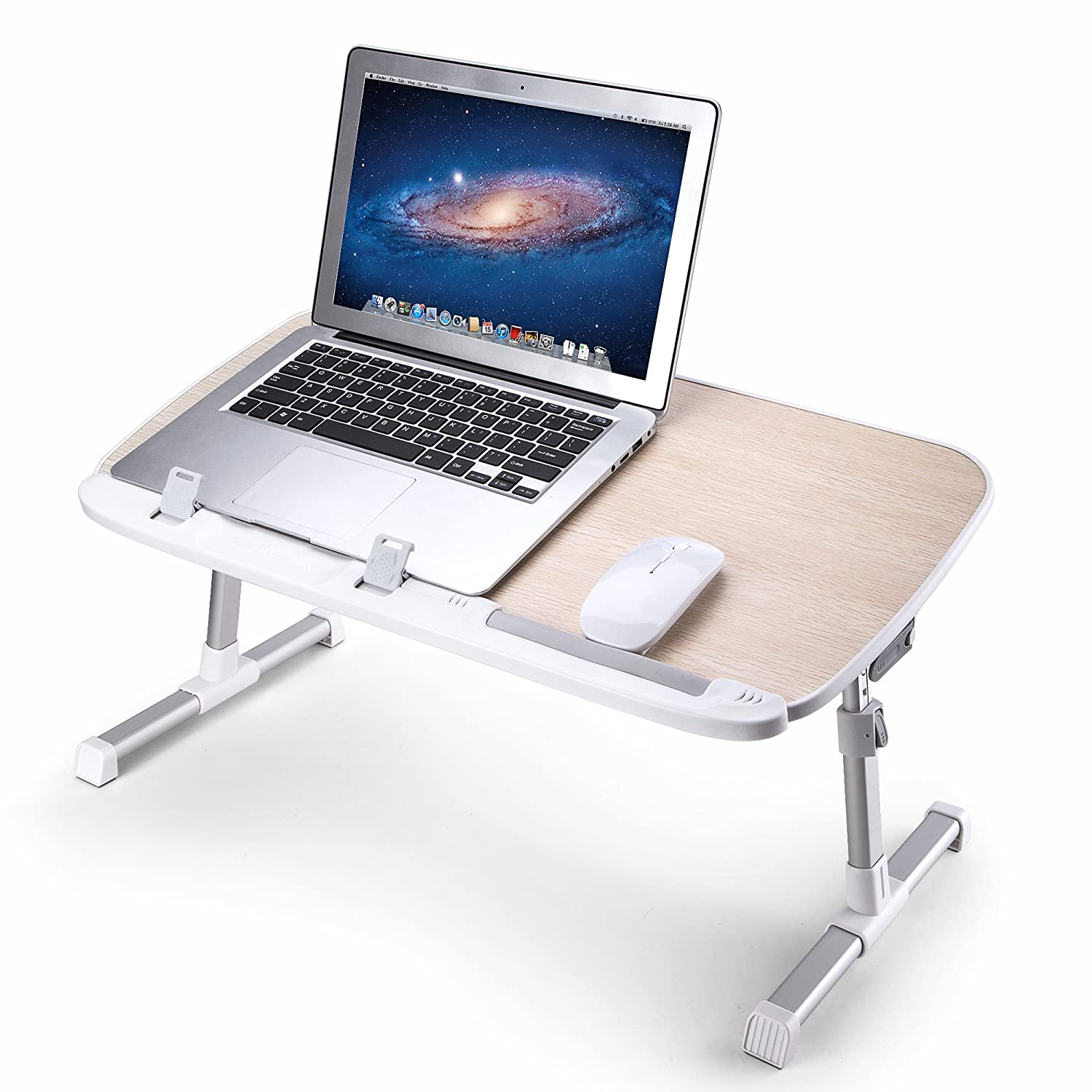 desk with bed table notebook portable saving drawer stand space laptop adjustable pc home tray homcom cm foldable bamboo