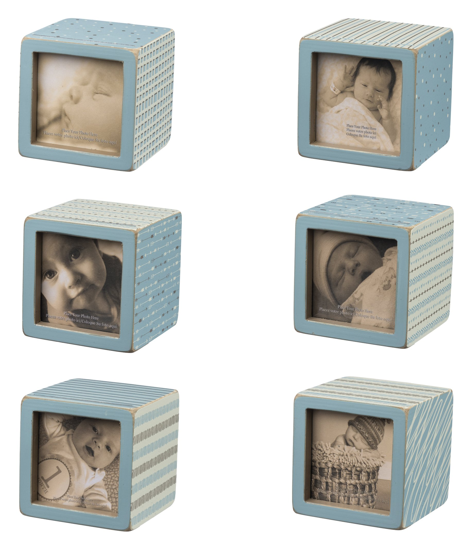 Primitives by Kathy Photo Block, Set of 6, Baby Blue Pattern