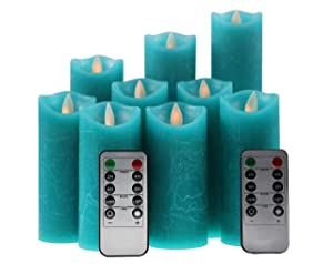 Kitch Aroma Teal Flameless Candles, Battery Operated LED Pillar Truquoise Flameless Candles with Moving Flame Wick for Home Decor Seasonal & Festival Celebration, Set of 9