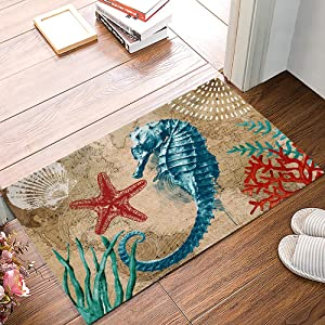 Leotear Door Mat Indoor Outdoor Entrance Rug Floor Mats Home Welcome Non-Slip Shoe Scraper Doormat for Kithchen Bathroom, 16x24 Inch - Nautical Theme Seahorse