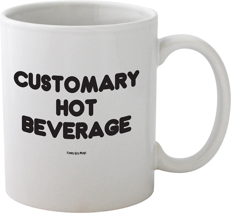 Funny Guy Mugs Customary Hot Beverage Ceramic Coffee Mug, White, 11-Ounce