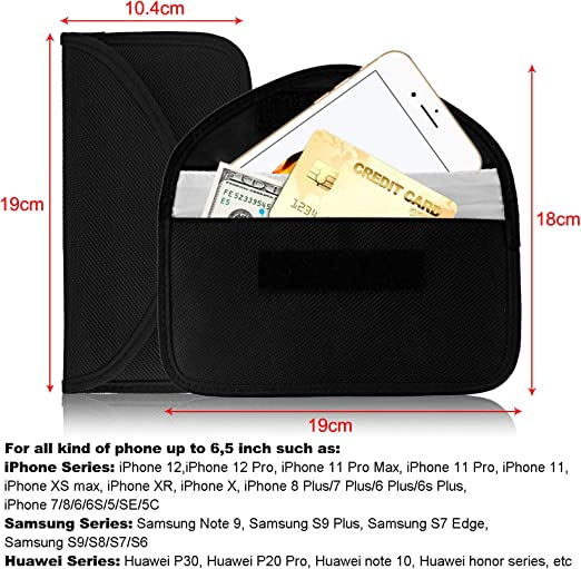Waflyer Rfid Strahlenschutz Tasche For Handy Keyless Go Schutz Autoschlüssel Faraday Tasche Signal Blocker Case Abschirmhülle Für Iphone 12 12 Pro 11 Xs Max Xr X 7 Plus 8 7 Telefon Bis Zu 6 5 Auto