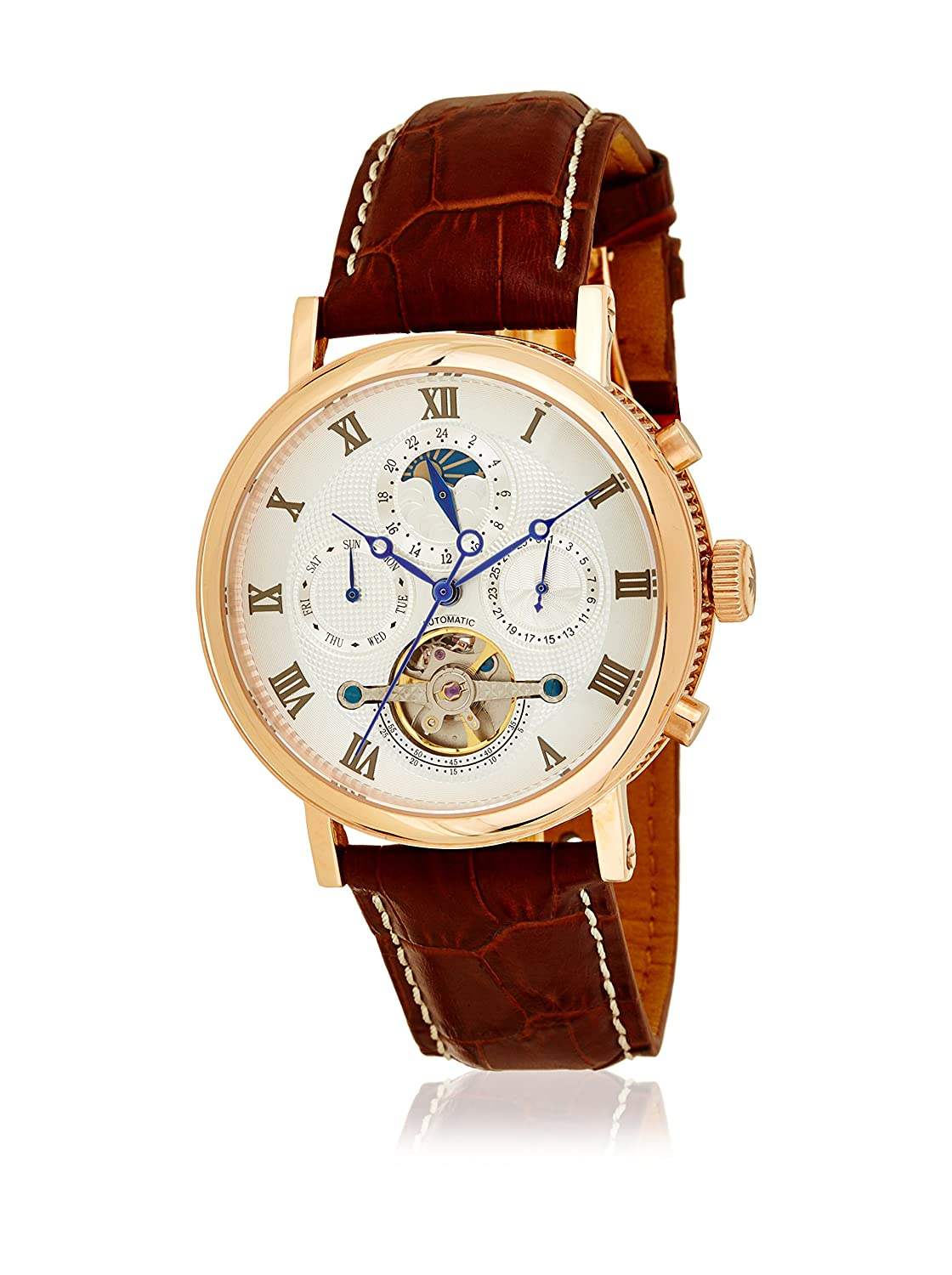 amazon co uk watch deals special offers louis cottier watch tradition automatic dial white stainless steel pvd gold pink leather strap brown men