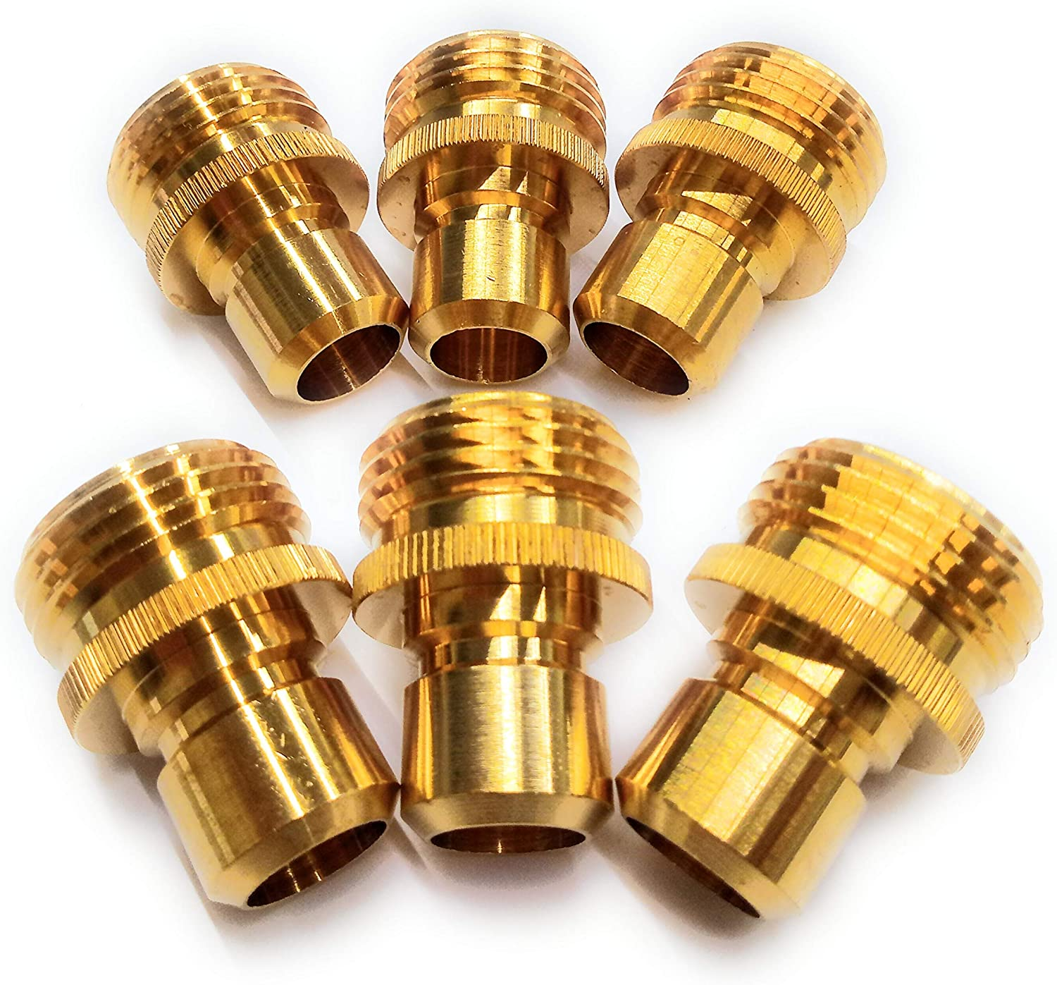Solid Brass Garden Hose Quick Connect Set, 6 Male Connectors, Extra 10 Washers.