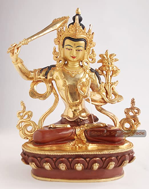 Himalayan Treasures Brass Metal Manjushri Statue Figure Amulet Buddhist Bodhisattva Deity A12