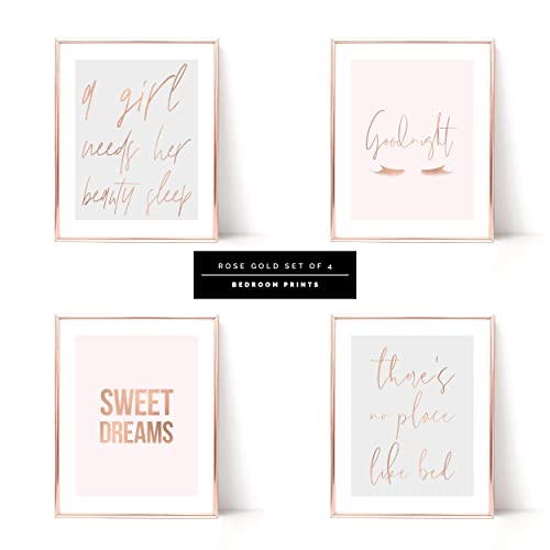 Bedroom Quote Prints Real Rose Gold Foil Grey Pink Typography Wall