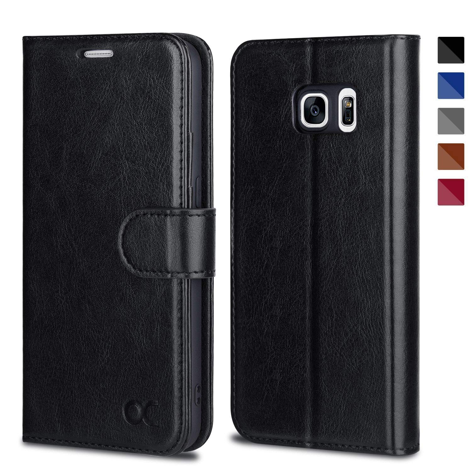 OCASE Samsung Galaxy S7 Case [ Card Slot ] [ Kickstand ] Leather Flip Wallet Case for Samsung Galaxy S7 - Black by OCASE