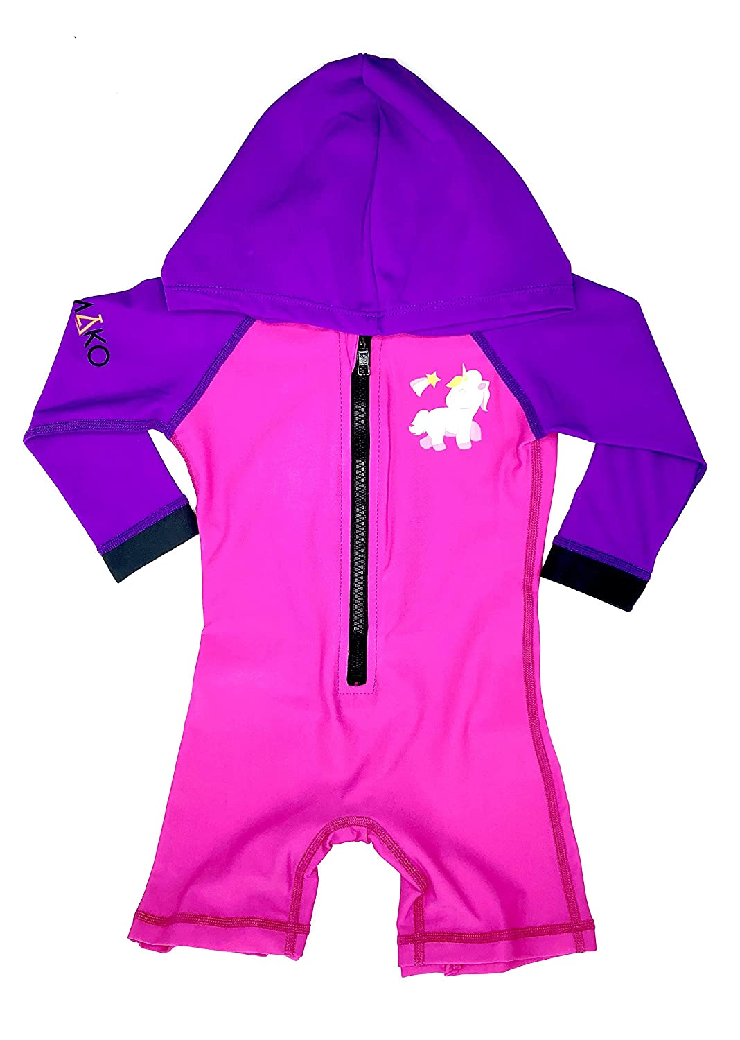 LabsByMAKO MAKO Baby/Toddler Hooded Swim Suit UPF 50+ One Piece Rash Guard Sun Suit