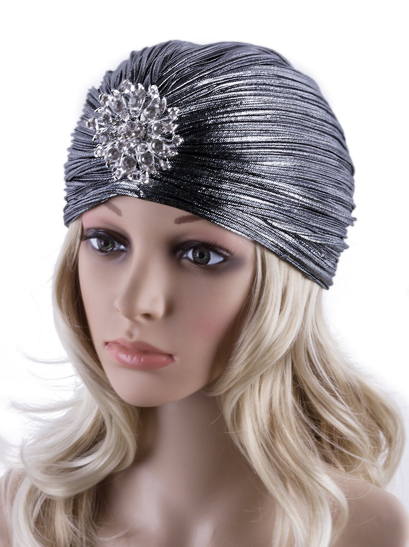 Vijiv Women's Vintage Lurex Knit Turban Beanie Hats Headwraps for 1920s Cocktail Party Silver Grey