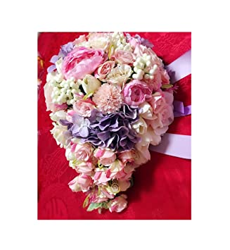 Amazon Com Pink Blue Purple Waterfall Brooch Bouquet Bridal