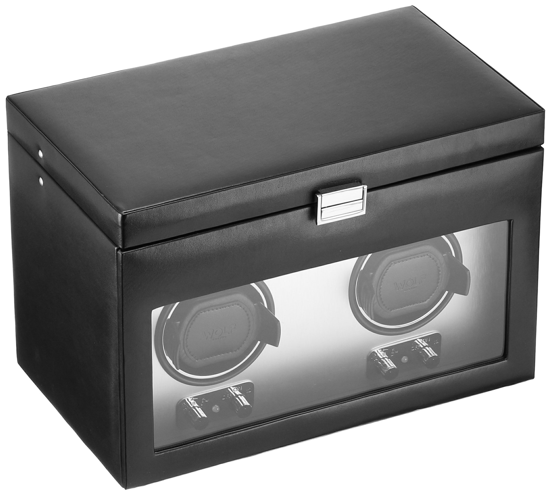 WOLF 270403 Heritage Double Watch Winder with Cover and Storage, Brushed Metal