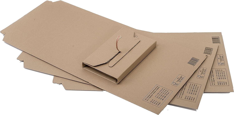 f/ür A4 Wellpappe 25 StK 302 x 215 x 20-75 mm braun Papyrus Buchverpackung Europost