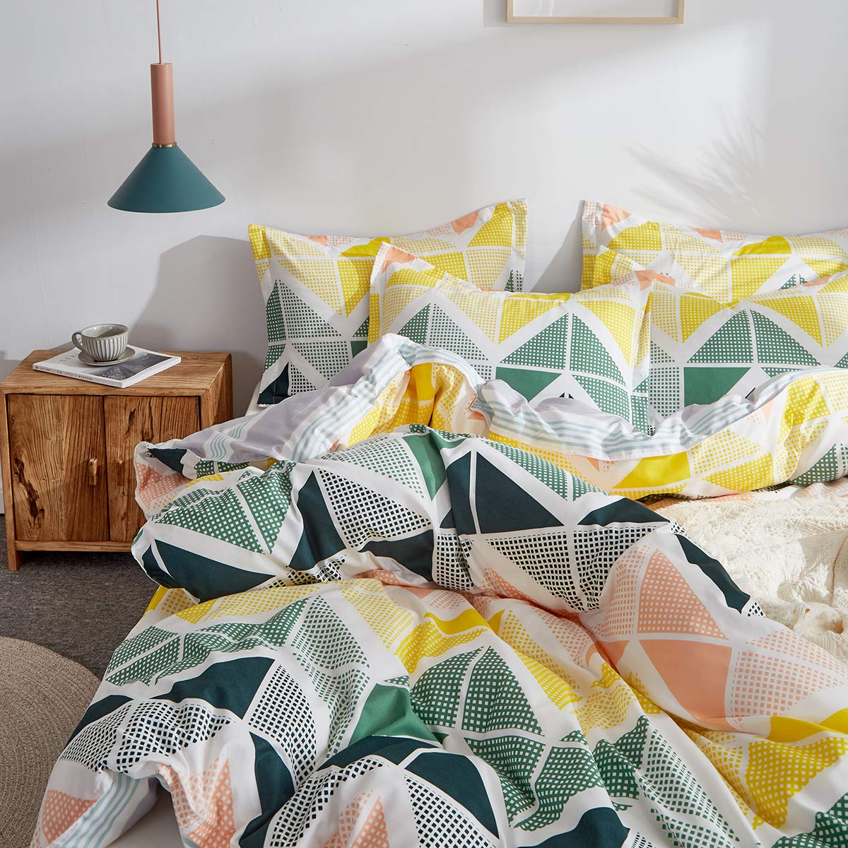 Not a Comforter Uozzi Bedding 3 Pieces Colorful Duvet Cover Set Queen Green Navy Yellow Orange Cubes Pattern Microfiber Comforter Cover with Ties and Zipper Morden Style Adult 3PC Bedding Set