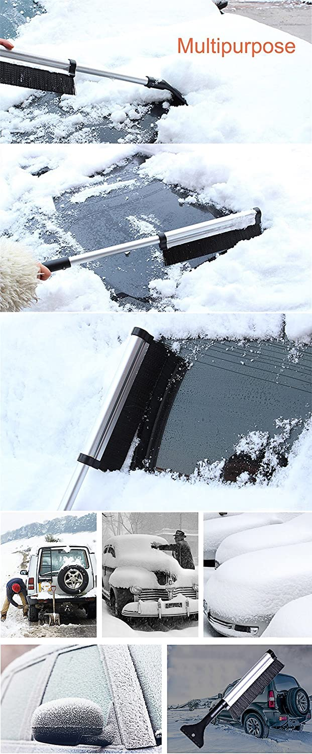 Extendable Telescoping Snow Brush 2-in-1 Retractable Ice Scraper Multifunctional Snow Shovel Tool for Car Windshield Cleaning /& Winter Deicing A