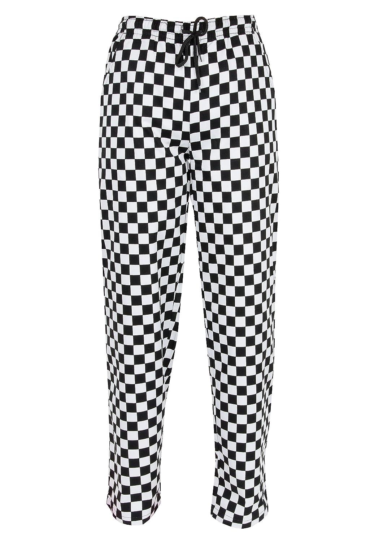 Pantaloni chef, pantaloni elasticizzati scacchiera stampa a quadri pantaloni cuochi, INS14B