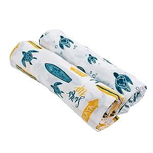 Bebe au Lait Oh So Soft Muslin Swaddle Blanket Set, Surf and Sea Turtles