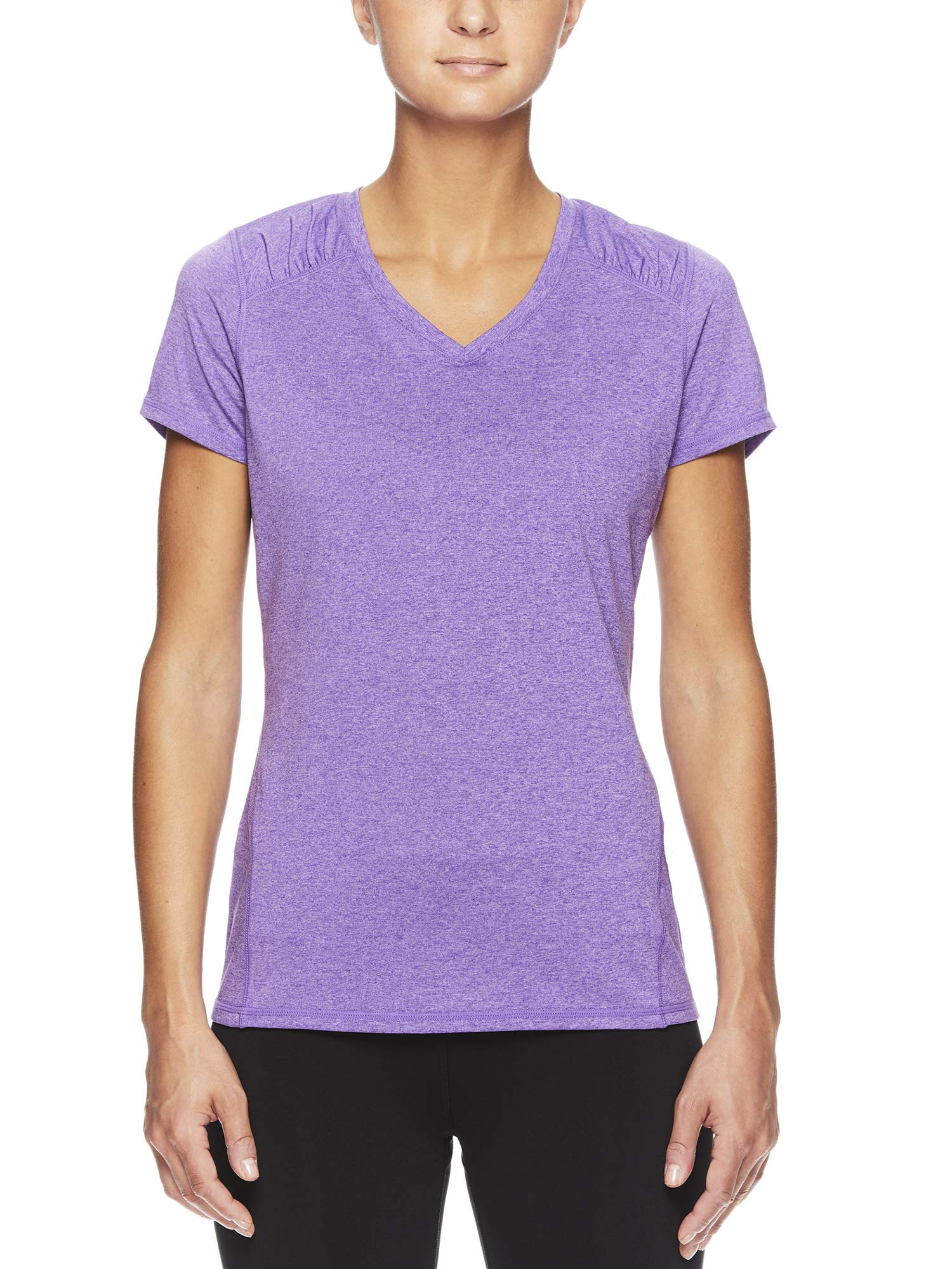 HEAD Women's Brianna Shirred Short Sleeve Workout T-Shirt - Marled Performance Crew Neck Activewear Top - Brianna Chive Blossom Heather, X-Small