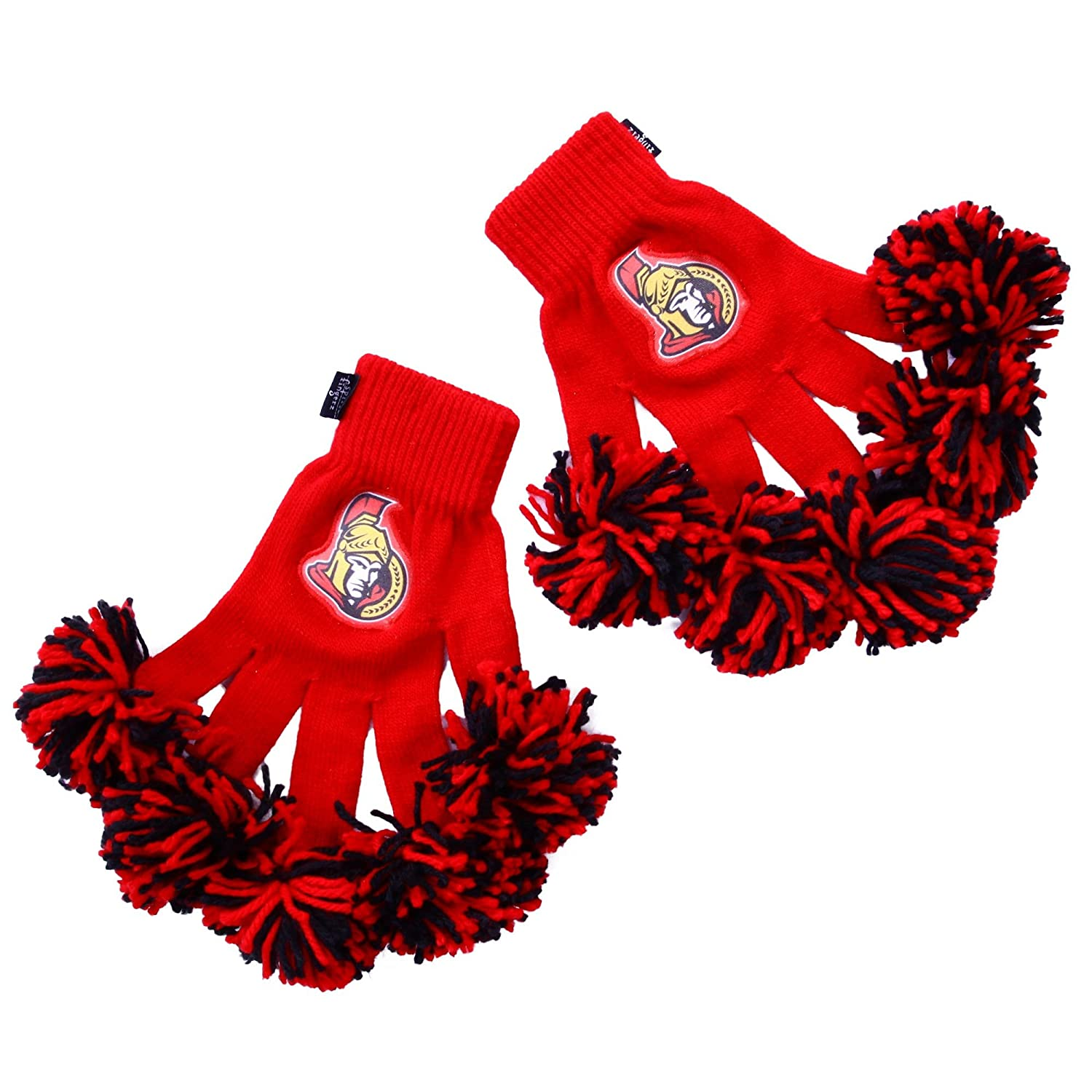 NHL Ottawa Senators Embroidered Spirit Fingerz Pom Pom Gloves