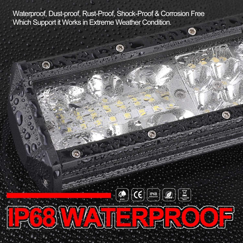 LED Light Bar,OFFROADTOWN 15inch 220W Quad Row Fog Light Flood Spot Combo Beam Off Road Work Light Bar Waterproof Driving Lights For Jeep ATV UTV SUV Ford Boat