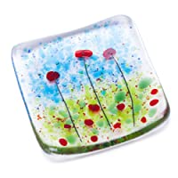 Poppy fields fused glass trinket bowl dish poppies red flowers design - Hand-made in East Sussex, England