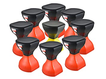 SARANGWARE Pinakin Stool Foldable Red & Black (Pack of 8) with Yellow & Black (Pack of 1)