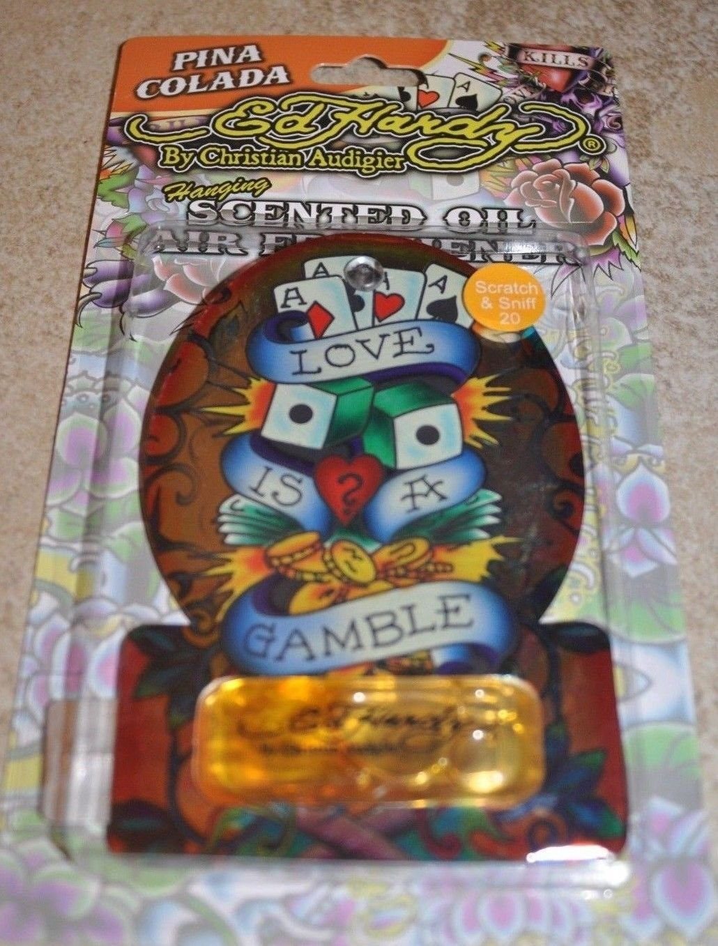 4 Ed Hardy LOVE IS A GAMBLE by Christian Audigier Scented Oil Air Freshener (PINA COLADA)