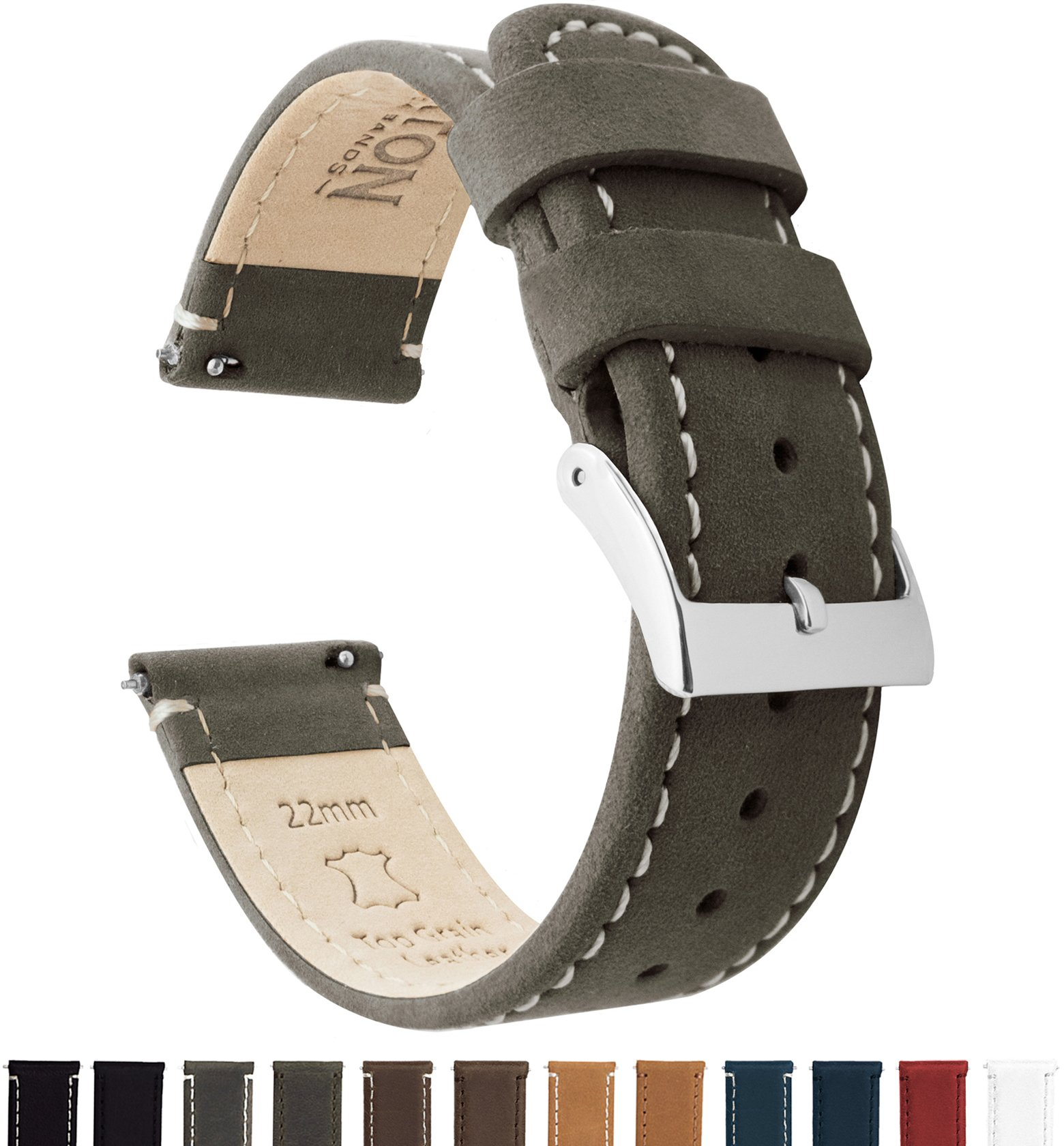 Barton Quick Release Top Grain Leather Watch Band Strap - Choose Color - 16mm, 18mm, 20mm, 22mm or 24mm - Espresso/Linen 24mm