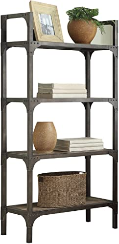 ACME Gorden Bookshelf – 92327 – Weathered Oak Antique Silver