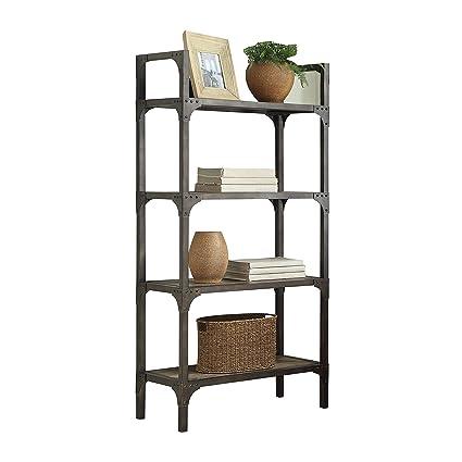 Acme Furniture 92327 Gorden Bookshelf Weathered Oak Antique Silver