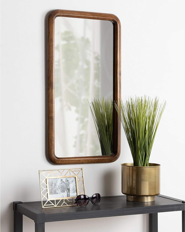 Framed Wood Wall Mirror Walnut Brown 17x32 Mid Century Modern Home Kitchen