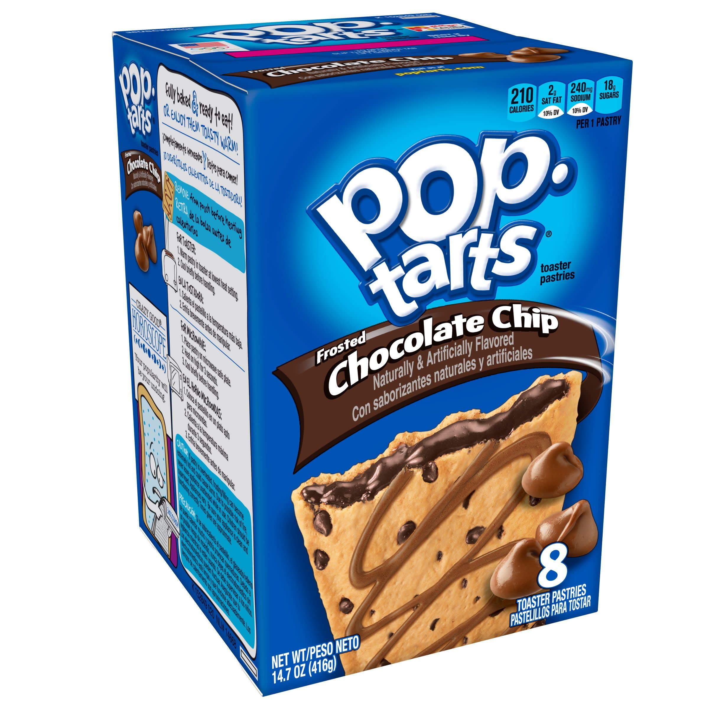 Pop-Tarts Breakfast Toaster Pastries, Frosted Chocolate Chip Flavored, Bulk Size, 96 Count (Pack of 12, 14.7 oz Boxes)