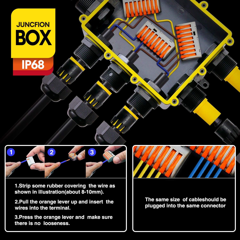 Bo/îtier de jonction /étanche IP68 7 connecteur de c/âble Coupleur de manchon ext/érieur /Ø 4mm-14mm