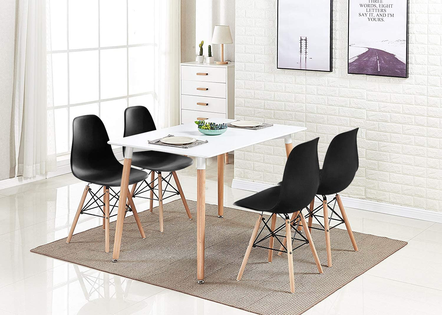 Amazon Com Homesailing Black Dining Chairs And Wood Table Set Of 4 5 Pieces Kitchenblack 4 Retro Eiffel Plastic Chairs White Wooden Dining Room Table Restaurant Office Tea Room Home Furniture