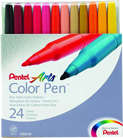 Pentel Color Pen Set 36 Assorted Colors Great for Adult Coloring Book Art Craft