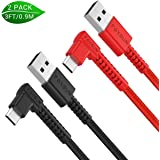 Right Angle Micro USB Android Charging Cable 2Pack (3ft)- 90 Degree Nylon Braided Charging Cord for Samsung Galaxy, Nexus, Motorola, Smartphones, Kindle, and More (Black & Red)