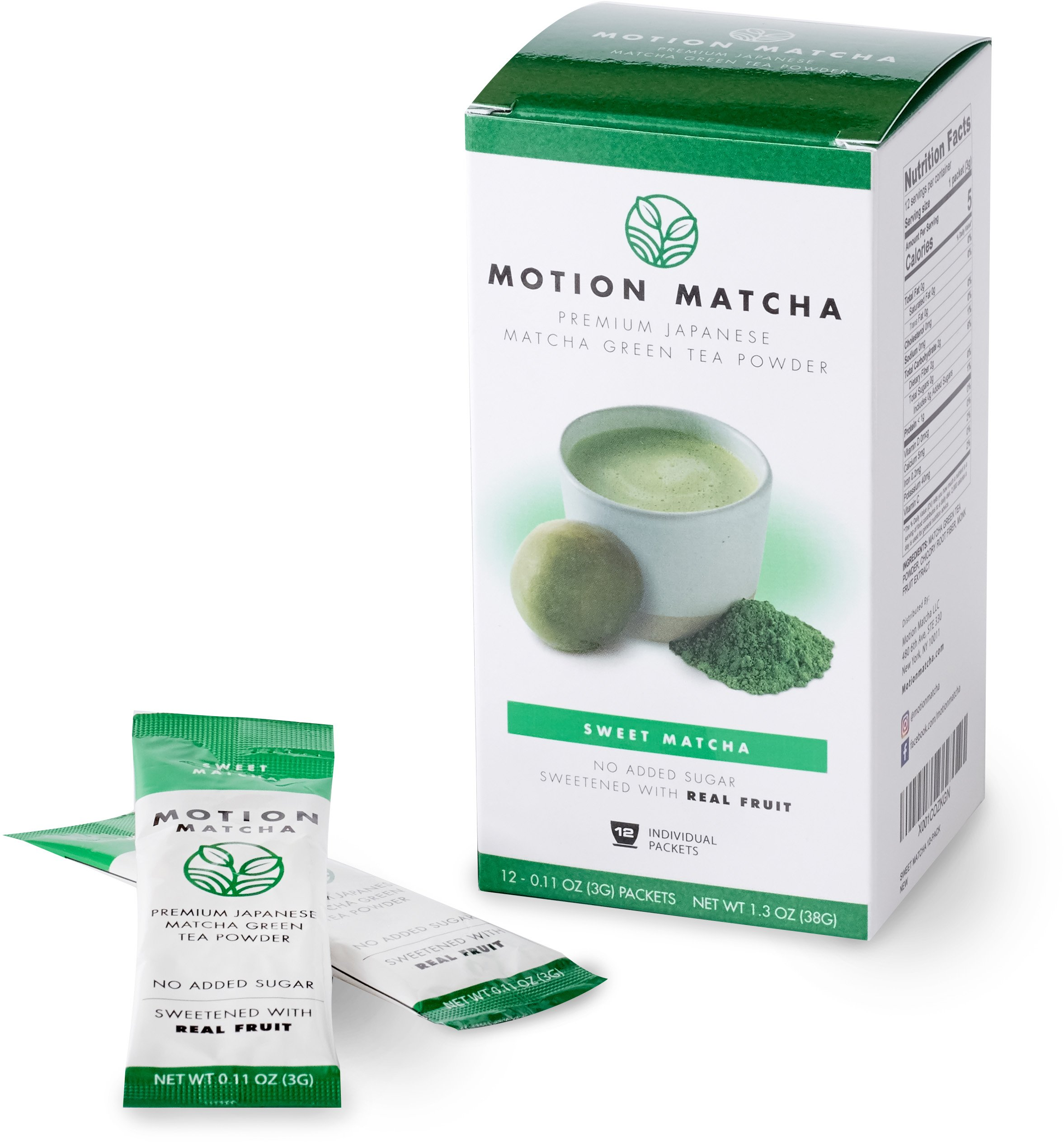 Sweetened Premium Matcha Green Tea Powder in Individual Packets - with Monk Fruit - No Added Sugar (Sweet Matcha) (12 single serving packets)