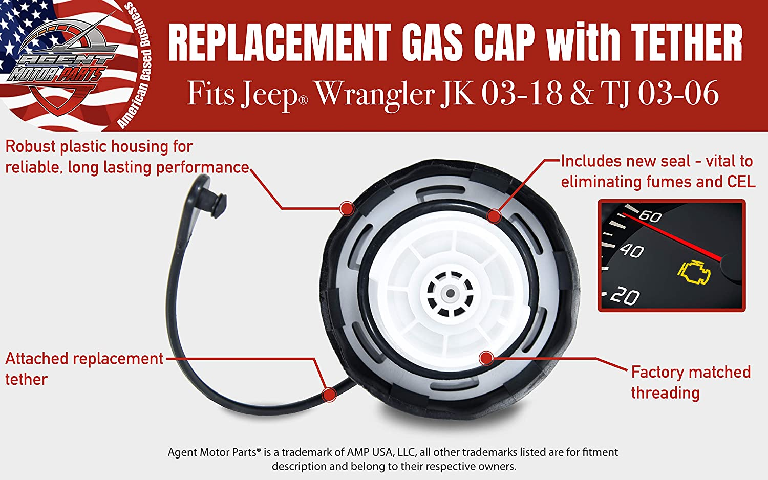 Replaces 52100552AG 52030387AB 2003-2006 Wrangler TJ 52030387AA 5210 0552AG Compatible with for 2003-2018 Jeep Wrangler JK Gas Cap Replacement Fuel Filler Cap