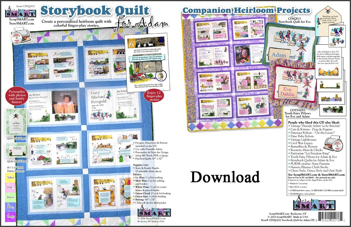 ScrapSMART - Storybook Quilt for Adam -  Software Collection - Jpeg, PDF, and Microsoft Word files for Mac [Download] by ScrapSMART