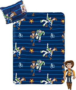 Jay Franco Disney Pixar Toy Story Travel Set - 3 Piece Kids Travel Set Includes Blanket, Pillow, Plush - Featuring Woody (Offical Disney Pixar Product)