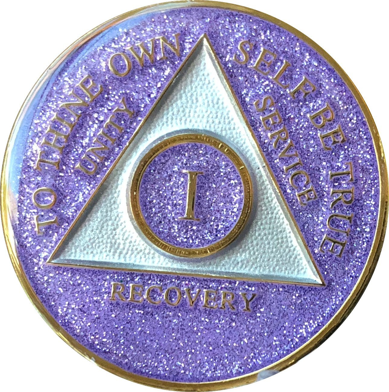 AA Sobriety Chip 1 Year Purple Glitter Tri-Plate Alcoholics Anonymous Medallion