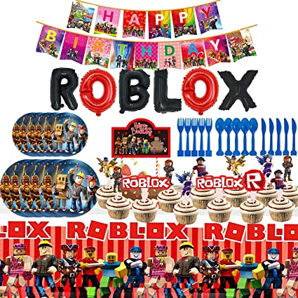 Plates Balloon Cake Toppers Banner Tablecloth Birthday Party Favor Pack Set for Kids Boy 163Pcs Robot Blocks Party Favor Party Decorations Ro-Blox Birthday Party Supplies Flatware Fork Napkins Knife Table Covers Spoons Cups
