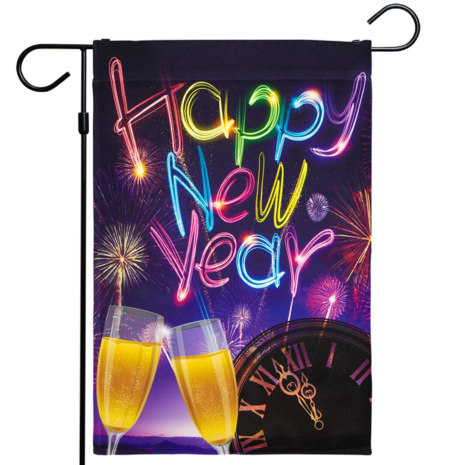 G128 - Happy New Year Garden Flag, New Year Themed Decorations - Fireworks and Champagne, Rustic Holiday Seasonal Outdoor Flag 12