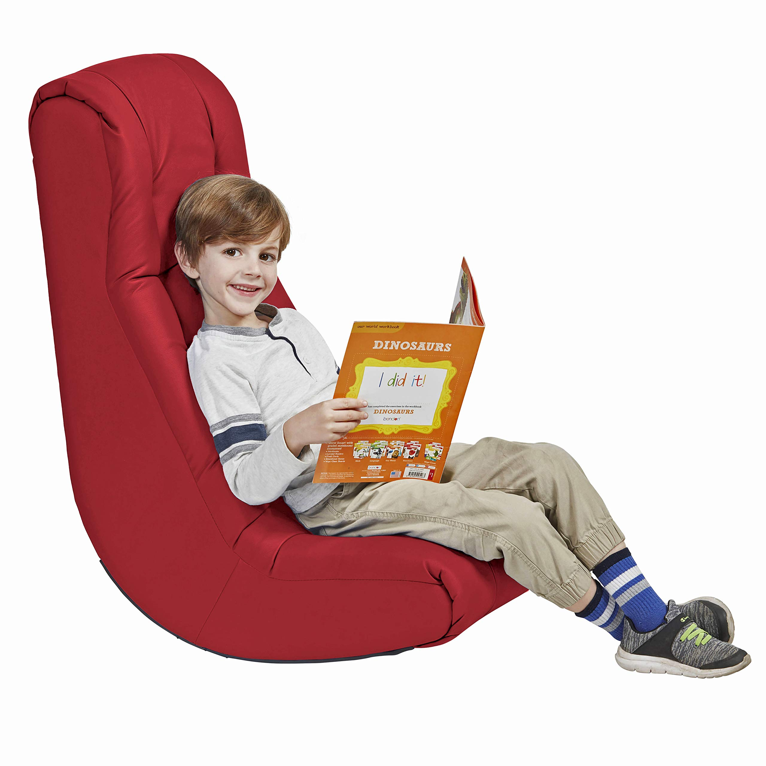 Soft Video Rocker - Cushioned Floor Chair for Kids, Teens and Adults - Great for Reading, Gaming, Meditating, TV - Red