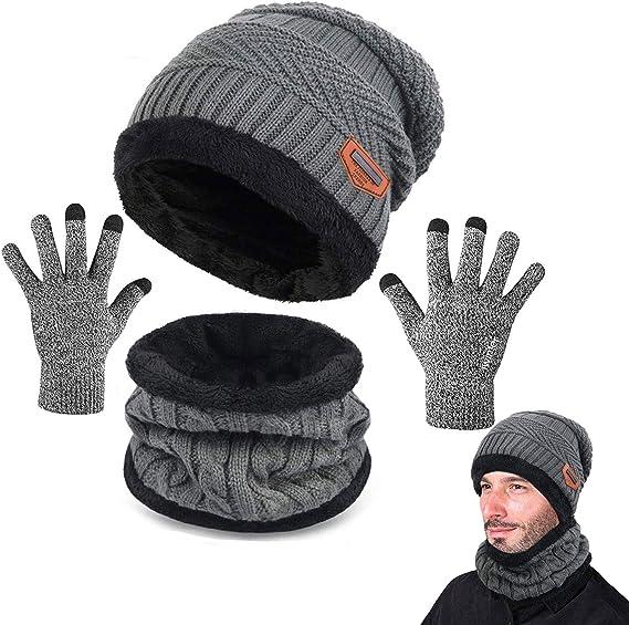 3 Pezzi CheChury Cappelli Invernali Uomo Cappello in Maglia Beanie con Sciarpa Donna Unisex Caldo Inverno Berretto Guanti Touch Screen per Jogging