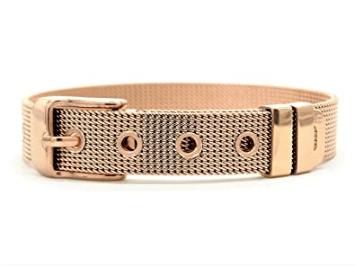 Genuine 18K rose gold plated bracelet mesh adjustable with belt buckle with  purple bag and black gift box (20)  Amazon.co.uk  Jewellery 86b84280d5ef