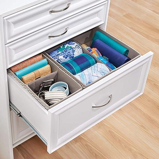 mDesign Organizador para cajones - Bandeja organizadora para gaveta con compartimentos para ropa interior - Set de dos separadores de cajoneras de 2 y 4 ...
