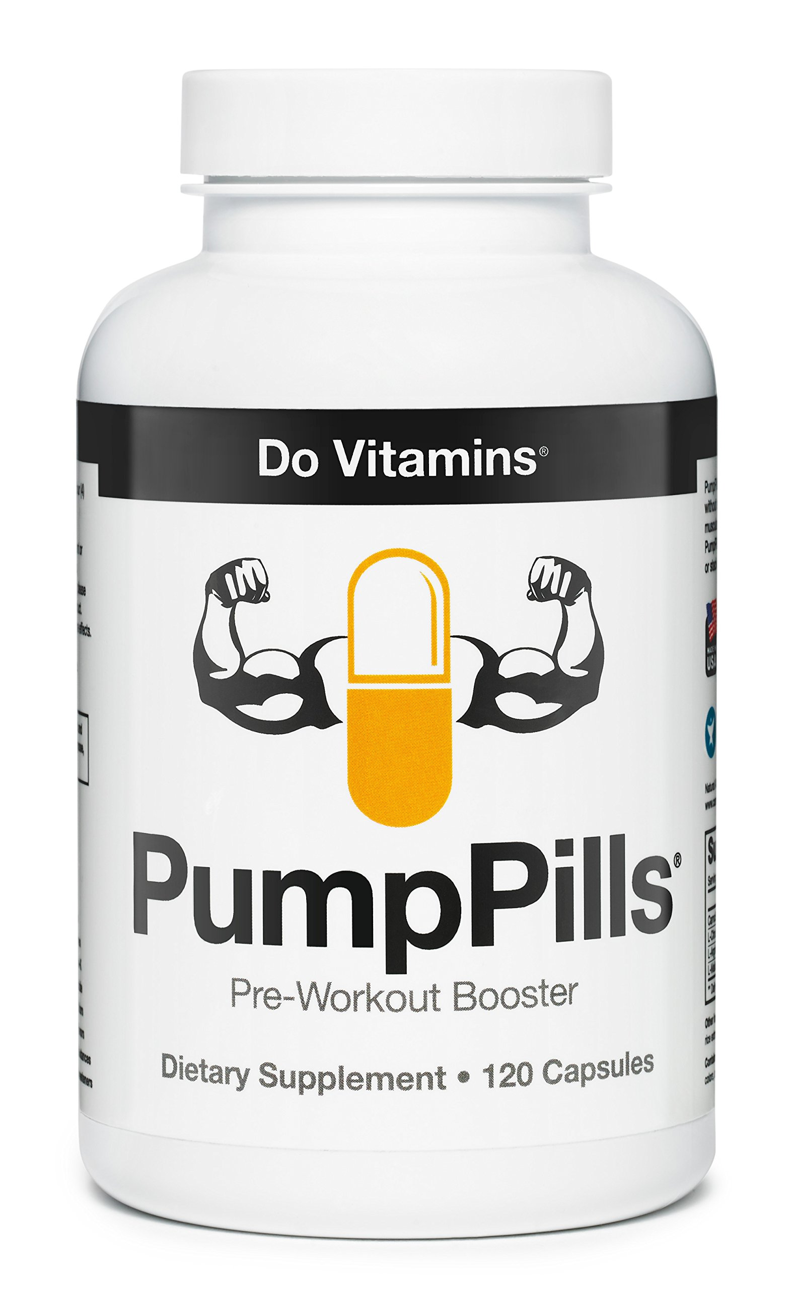 PumpPills Nitric Oxide Supplements For Men & Women - L Citrulline L Arginine Supplement - Stimulant Free Pre Workout Pills - Nitric Oxide Booster - Vegan, Paleo, Keto (120 Capsules) by Do Vitamins