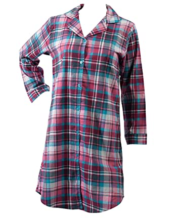 c46a5d2887 Slenderella Ladies Tartan Nightshirt Brushed Cotton Long Sleeve Checked  Nightie UK 20 22 (Turquoise
