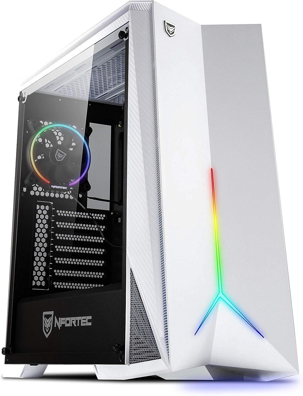 Nfortec Hyperion Torre Gaming RGB con Panel Lateral de Cristal Templado y Ventilador RGB de 120mm Incluido - Color Blanco: Amazon.es: Informática