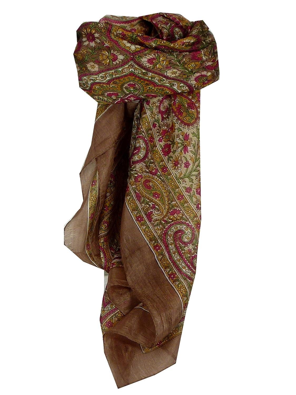 Suya Square Caramel Traditional Silk Scarf by Pashmina & Silk